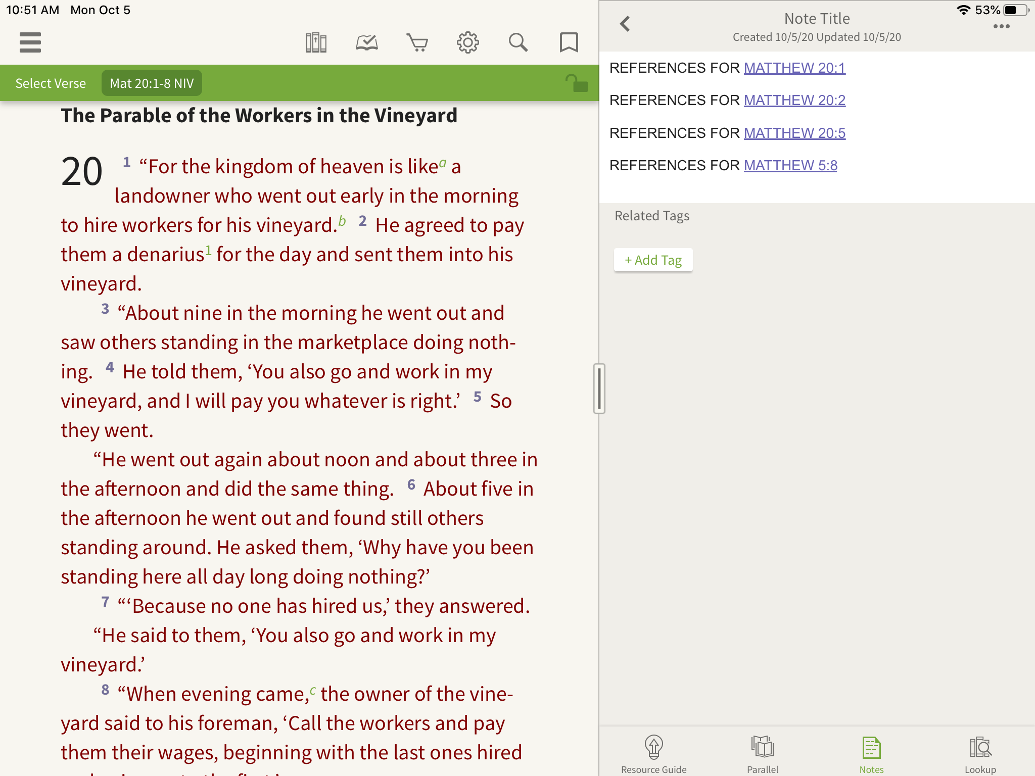 opening a note and writing down verse references in the olive tree bible app