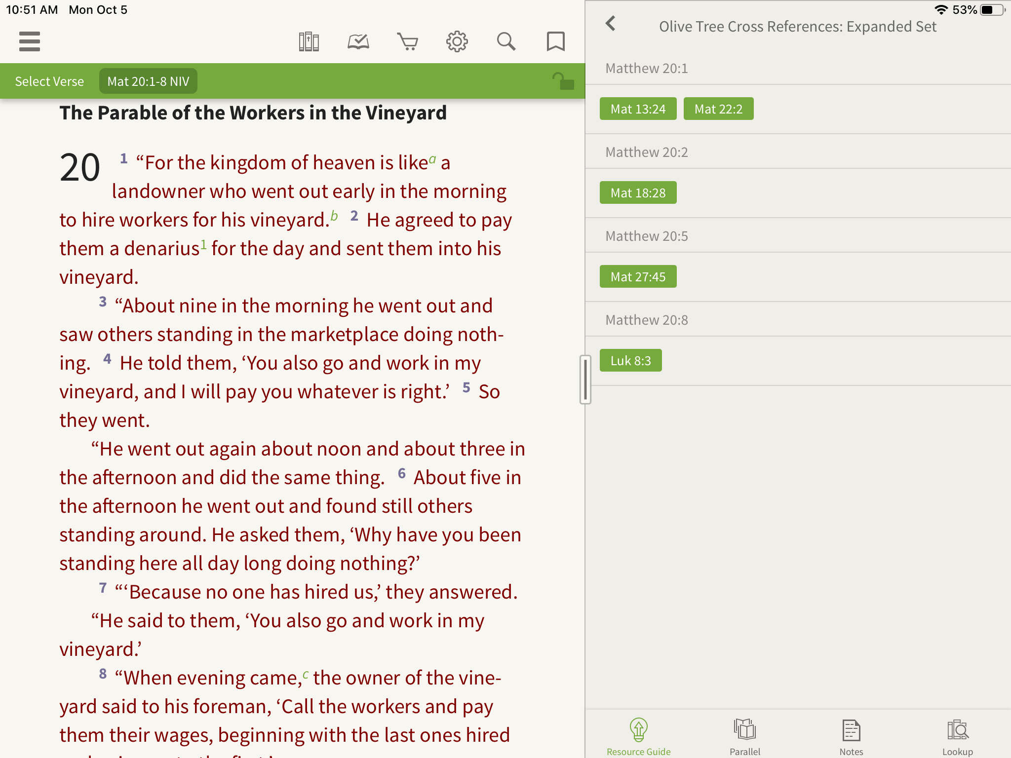 Olive Tree Bible App choose a passage to cross-reference