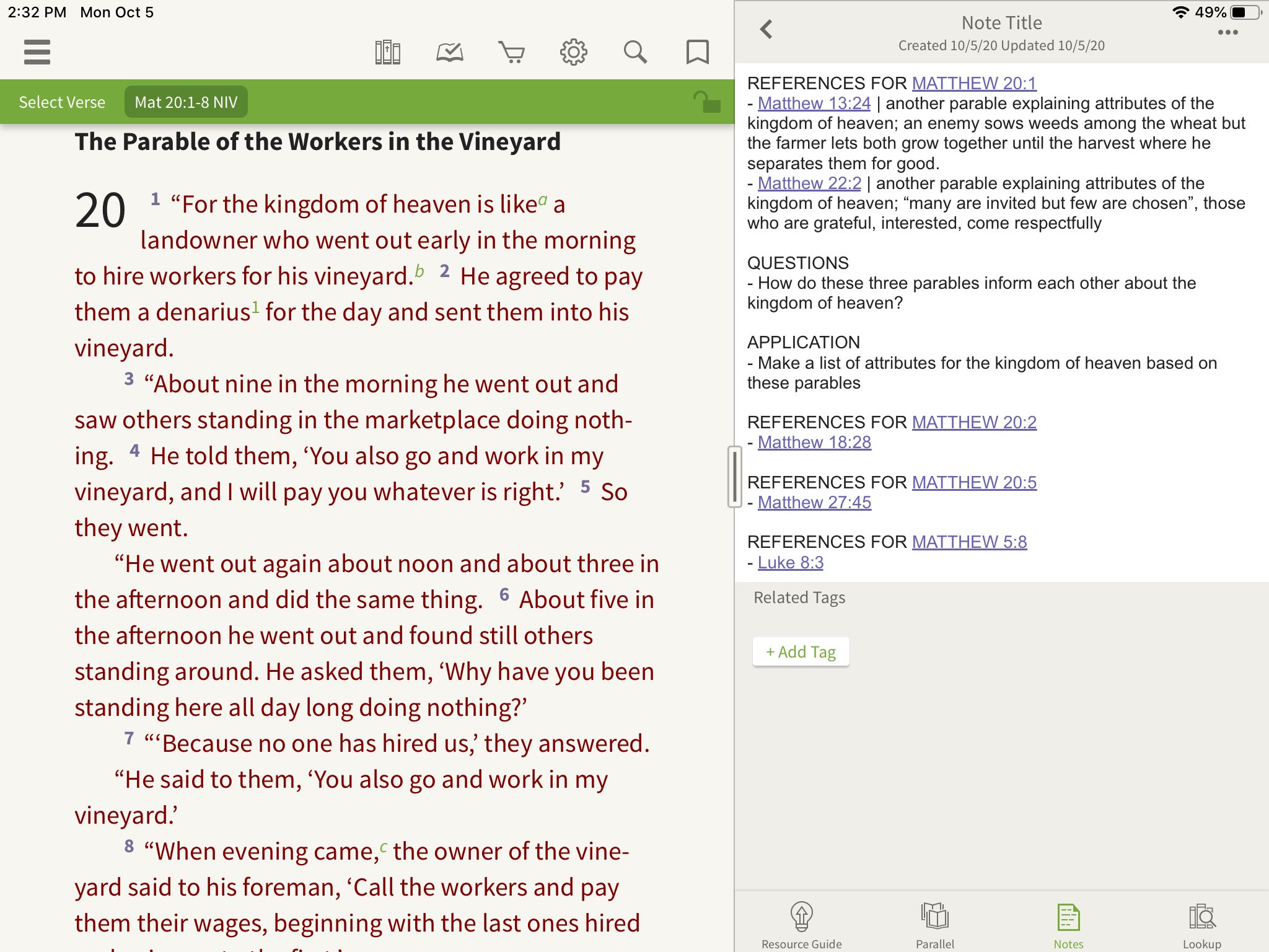 last step of studying cross references in the olive tree bible app