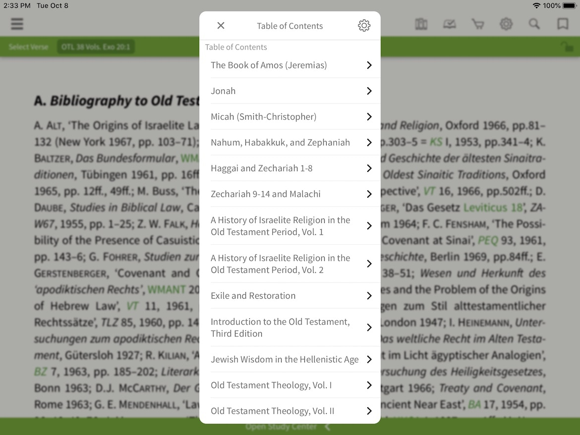 old and New Testament library table of contents