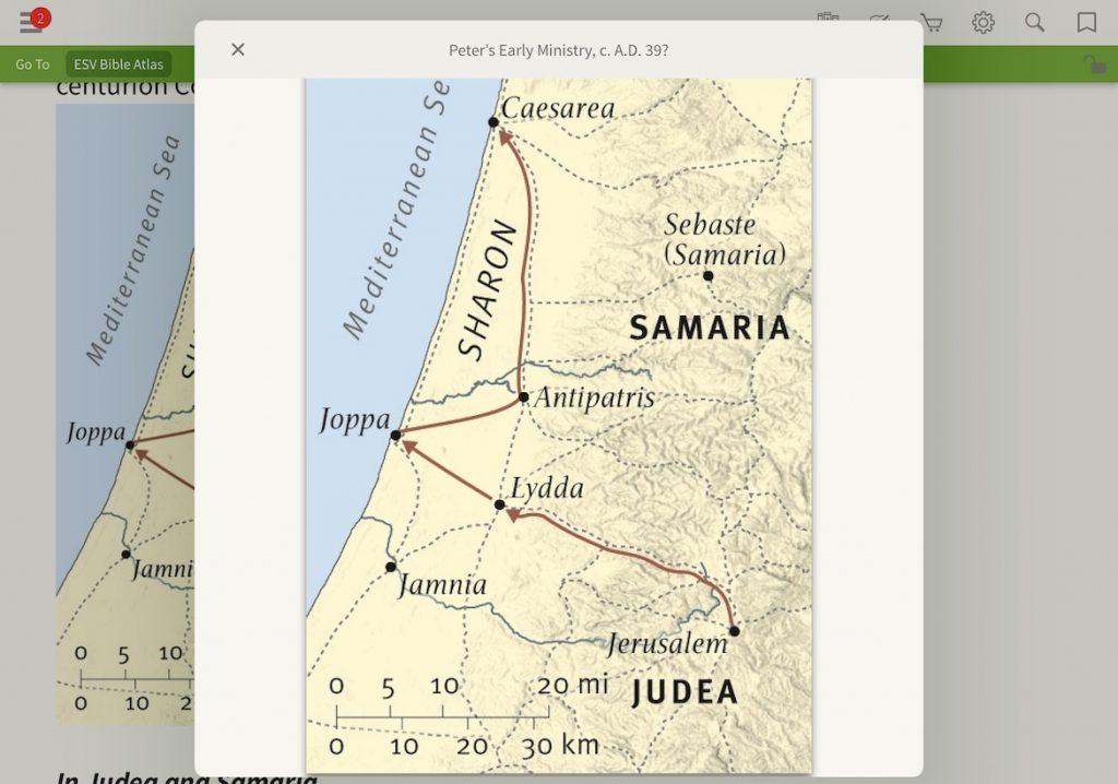 ESV Bible Atlas Joppa Samaria where did peter's vision happen?