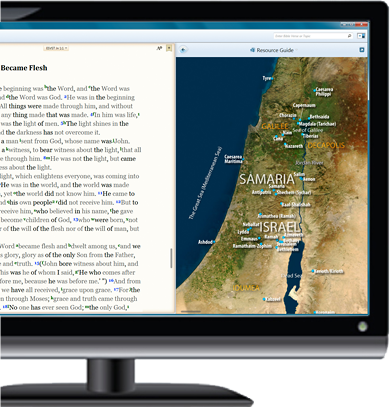 BibleReader for Windows displaying related maps content